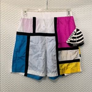 Vintage Color Block Shorts